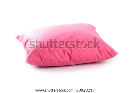 pink pillow isolated on white background - stock photo