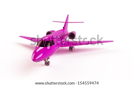 Pink plane isolated on white