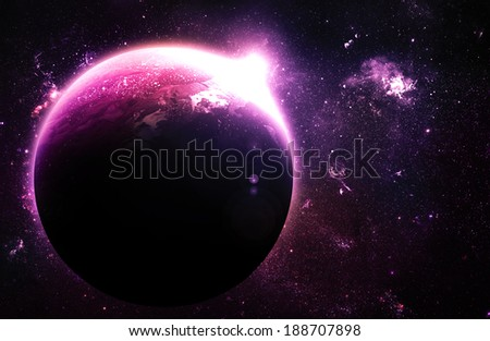 Pink Planet at Sunrise - Elements of this Image Furnished By NASA - stock photo