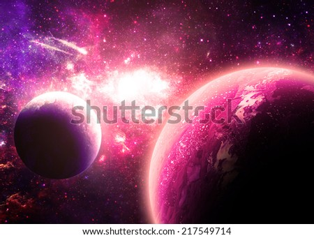 Pink Planetscape - Elements of this Image Furnished by NASA - stock photo