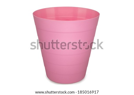 pink plastic empty wastebasket isolated on white background