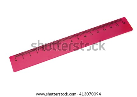Pink plastic ruler on white background - stock photo