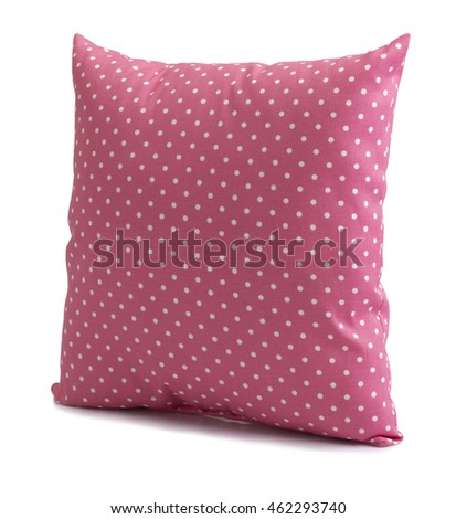 Pink polka dot cushions isolated on white background