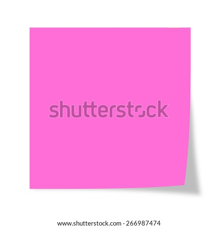 Pink post it isolated on a white background  - stock photo