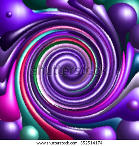 Pink purple green  psychedelic spiral fractal pattern background - stock photo