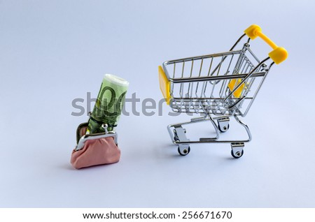 pink purse with money in shopping trolleys. - stock photo
