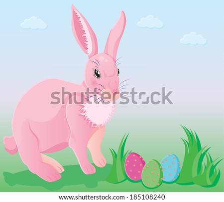 Pink rabbit with decorated eggs. Easter illustration - stock photo