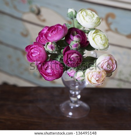 pink ranunculus (persian buttercup) in glasses on the wood table