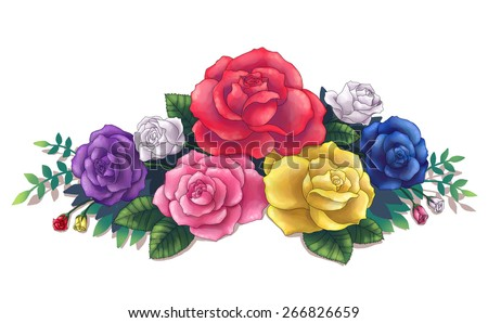 Pink red yellow blue purple colorful stock illustration 266826659 pink red yellow blue purple colorful roses flower flora bouquet illustration art created by computer mightylinksfo