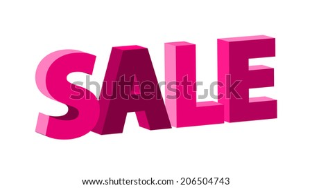 pink retro sale sign with 3D effect (raster version, available as vector too)