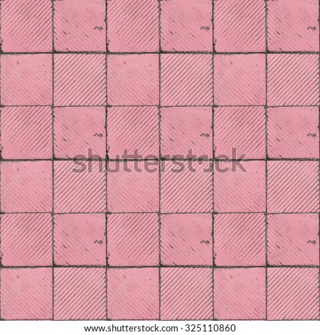 pink ribbed tile on the floor and wall seamless tiled texture - stock photo