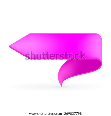 Pink ribbon. Abstract scroll paper vector background. Design element. Ribbon banner. Isolated on a white background. Raster copy. - stock photo