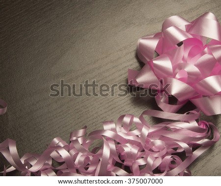 Pink ribbon and bow/Ribbon and bow/Ribbon and bow for gifts - stock photo