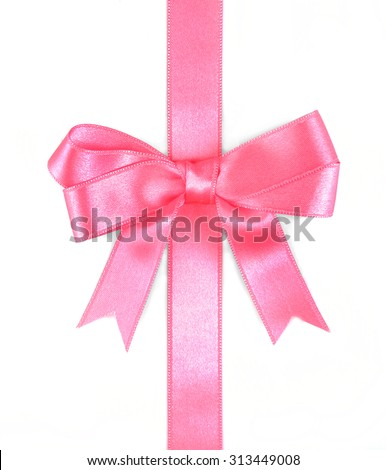 Pink ribbon bow isolated on white - stock photo