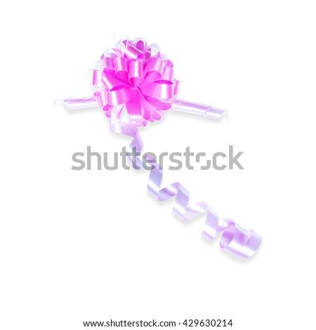 Pink ribbon bow isolated on white background. Christmas decoration. - stock photo