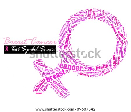 Pink ribbon breast cancer awareness info-text/cloud word/word collage composed in the shape of woman sex symbol(text symbol series) isolated on white