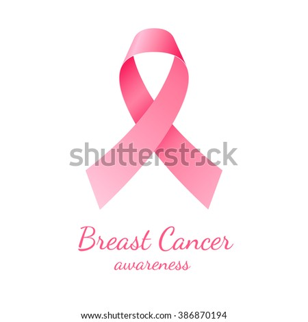 Pink ribbon, breast cancer awareness symbol on white background - stock photo