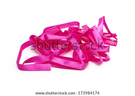 Pink ribbon for decoration. Photo.