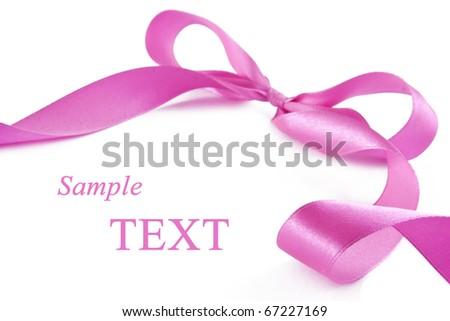 Pink ribbon on white background - stock photo