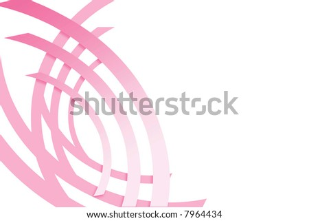 pink ribbon slices in an abstract pattern reminiscent of breast cancer ribbons - stock photo