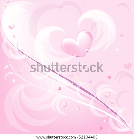 Pink romantic background with heart in a vector