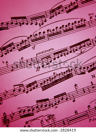 Pink romantic sheet music background