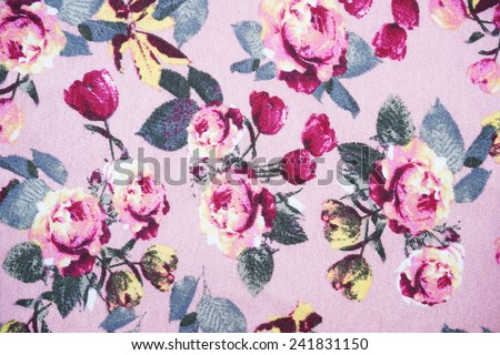 pink rose fabric pattern background, fragment of colorful retro tapestry textile  with floral ornament - stock photo