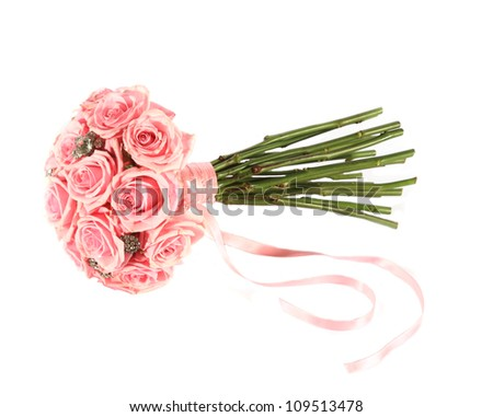 Pink rose wedding bouquet for the bride or bridesmaids - stock photo