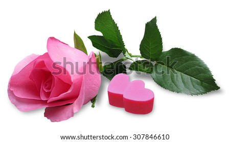 Pink rose with heart shaped candy, wedding,mother's day, valentine's day - stock photo
