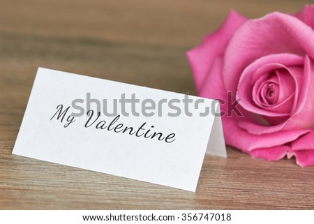 Pink Rose with note valentine concept
