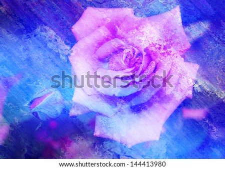 pink rose with patina texture - stock photo
