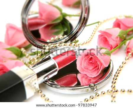 Pink roses and lipstick
