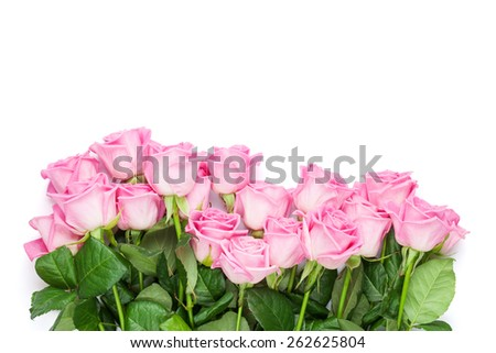 Pink roses bouquet. Isolated on white. Top view with copy space - stock photo