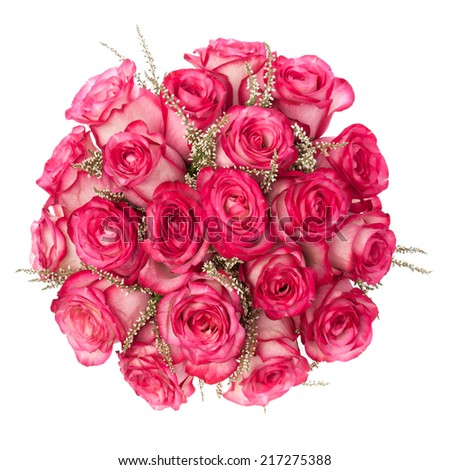 Pink Roses bouquet seen from above isolated on white.