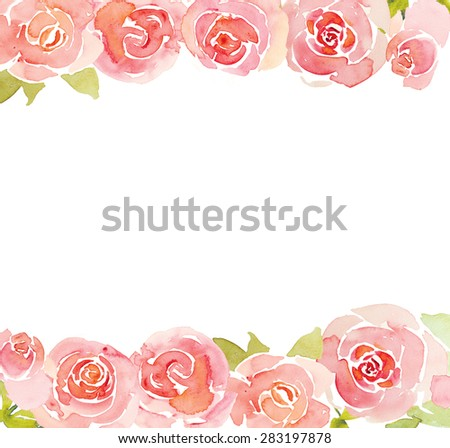 Pink roses flower watercolor background - stock photo