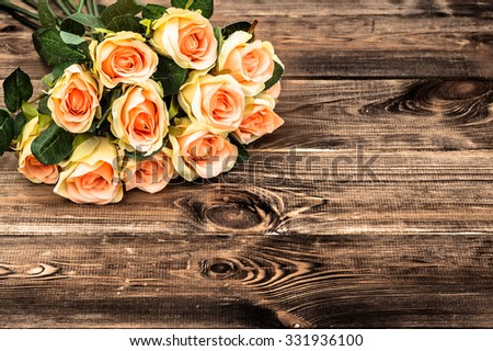 Pink Roses Flowers On Rustic Wood Background Selective Focus