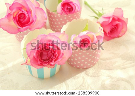 Pink roses in muffiin cups, still life  - stock photo
