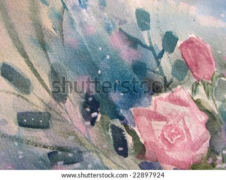 Pink Roses in watercolors 1 - stock photo