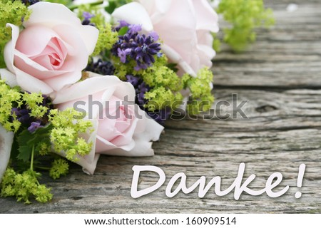 pink roses, lavender and lettering thanks/thank you/german - stock photo