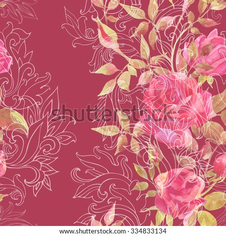 Pink roses on baroque ornament. Watercolor flowers on indian paisley seamless pattern. Hand painted illustration  - stock photo