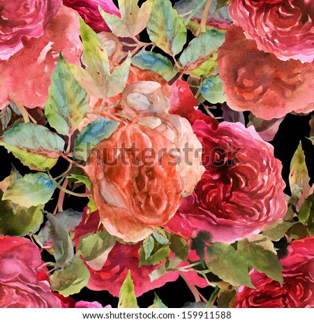 Pink Roses Seamless Pattern   - stock photo