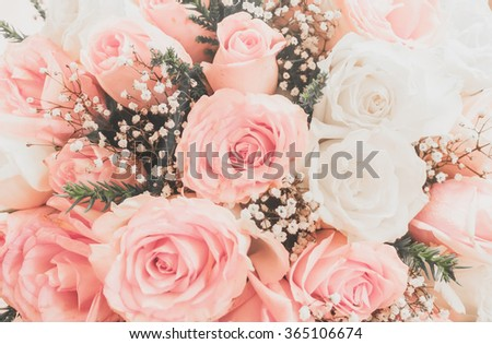 Pink roses well use as a wedding or valentine background - stock photo