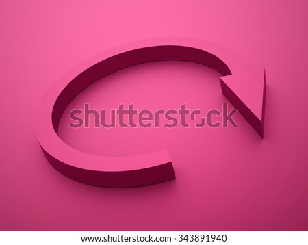 Pink round business arrow icon rendered