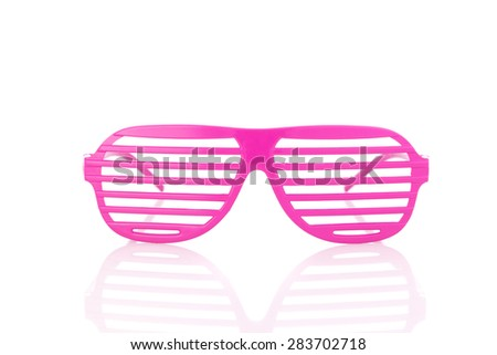 pink 80's slot glasses isolated on white background front view - stock photo