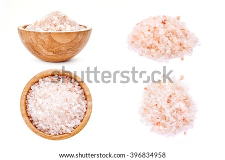 pink salt isolated on white background - stock photo