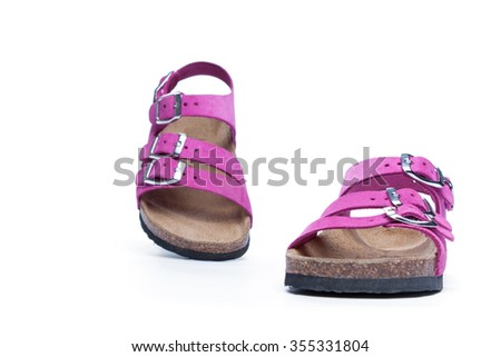 pink sandals on a white background