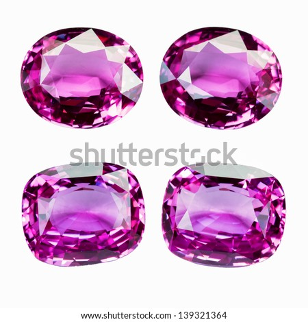 Pink Sapphire isolated on white - stock photo