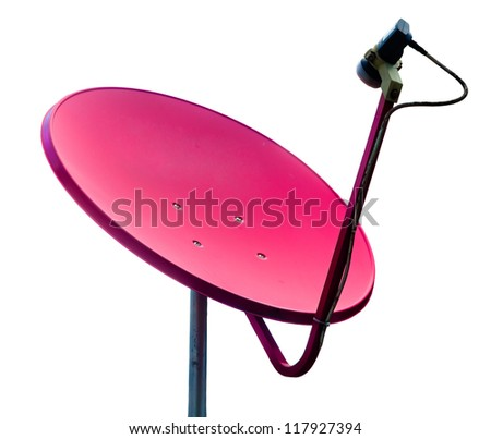 Pink satellite on white background - stock photo