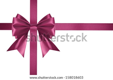 Pink satin ribbon with bow isolated on white background
