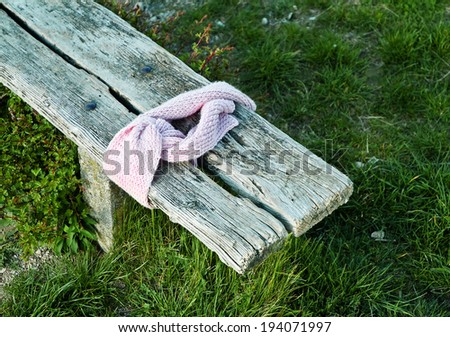 Pink scarf on a park bench